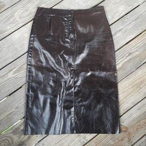 New Frontier Brown Leather Line A Skirt 10